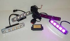 Purple and White Funeral DRL Strobe kit 1 Watt Magenta LED Grille Light