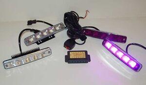 Purple and White Funeral DRL Strobe kit 1 Watt Magenta LED Grille Light