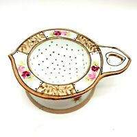 """Vintage Nippon Hand Painted Floral Tea Bag Strainer/Drainer 4"""" with Drip Bowl"""