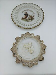 Lot of 2 Antique Victorian Dithridge Milk Glass Easter Plates