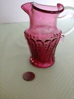 Vintage Cranberry Art Glass Small Pitcher or creamer Bead & Scroll Design