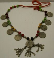 "Vintage 1 Rupee Silver Coin & 8- 50 Paise coins and beads 28"" Necklace J1"