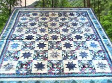 """NEW Handcrafted Colorful Stars Pattern Quilt  101""""  x  91"""""""