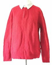GANT Cable Knit Red with White Collared Lamb's Wool Jumper Size 2XL