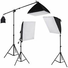 3x135wPhotography Soft Box Continuous Lighting Kit Softbox Boom Arm Light Stand