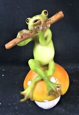 Frog on a Rock Playing a Flute Resin Figurine Fantasy