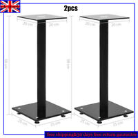 2x Speaker Stand Tempered Black Glass 1 Pillar Surround Sound Holder Rack Modern