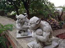 (NEW) PAIR OF GRUMPY GARGOYLES,Garden stone ornaments,gargoyles,Bespoke concrete