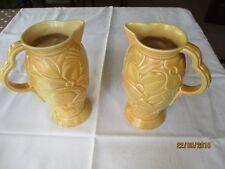 Pair of Vintage 1930s Wade Art Deco vases in softpeach w/ embossed pattern 144