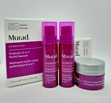 Murad Prebiotic 4-In-1 MultiCleanser Lot of 2 travel size & Nutrient Water Gel