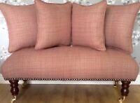 Long Footstool Stool & 4 Cushions Laura Ashley Elodie Cranberry Fabric
