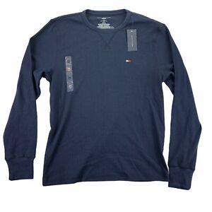 Tommy Hilfiger Mens Thermal Waffle-Knit Long Sleeve Crewneck Sleep T-Shirt M