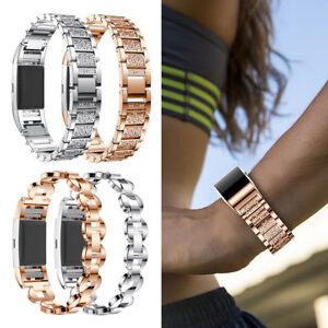 For Fitbit Charge 2 Smart Watch Luxury Stainless Steel Crystal Watch Band Strap