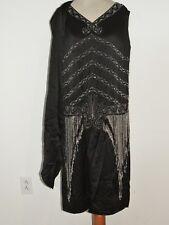 1920's Black Silk Crepe Heavily Beaded Flapper Dress MED
