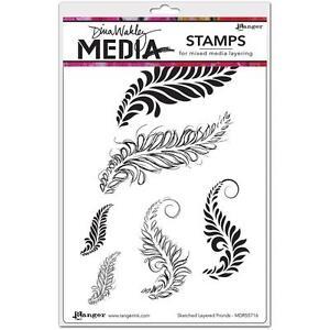 Ranger - Dina Wakley Media - Cling Rubber Stamp Set - SKETCHED LAYERED FRONDS