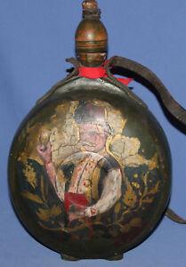 Antique Hand Painted Folk Wood Wine Brandy Pitcher
