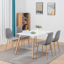 Rectangle Dining Room Table and 4 Fabric Chairs Set White Eiffel Retro Style