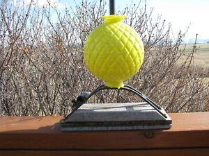 Yellow Milk Glass QUILT PATTERN Lightning Rod Ball