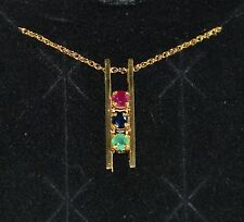 "EMERALD SAPPHIRE & RUBY PENDANT & NECKLACE 18"" 14K Yellow Gold"