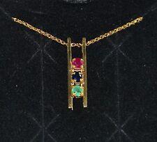 "EMERALD SAPPHIRE & RUBY GEMSTONE BAR PENDANT & 18"" Necklace 14K Ylw Gold"