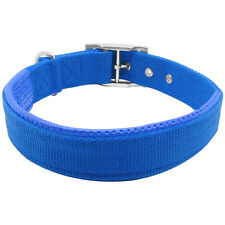 17-20'' Blue Nylon Padded Dog Collar Buckle Double Layer Heavy Duty For Dogs M