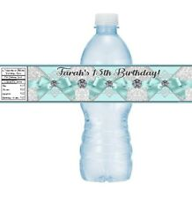 12 Tiffany Blue Ribbon Diamonds Birthday Party Baby Shower Water Bottle Stickers