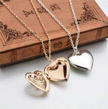 "Necklace Locket Steel Stainless Pendant Style Silver Heart Photo 18"" Heart"