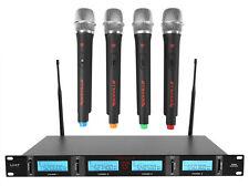 Rockville RWM4401UH Quad Portátil Sem Fio Uhf 4 Sistema De Microfone Com Visor Lcd