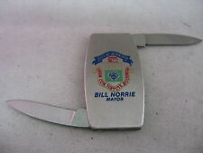 Vintage Political ZIPPO Pocket Knife: WINNIPEG Bill Norrie Mayor ~ Double Blade~
