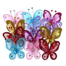 "10Pcs Mixed 2"" organza nylon mesh butterflies wire rhinestones glitter wedding"