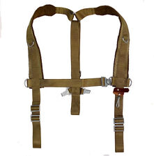 Ex-Army Shoulder Harness Green Webbing With Leather Strap Braces Yoke Suspenders