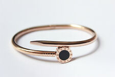 Men Stainless Steel Rose Gold Round Nail Bangle Bracelet Jewelry Gift Present