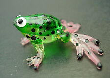 Glass FROG Green Black Spotted Frog Painted Glass Animal Wildlife Glass Ornament