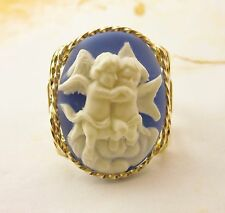 Hugging Cherub Cameo Ring 14k Rolled Gold Blue Jewelry