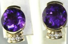 MODERN USED 14K GOLD 7 CARAT AMETHYST DIAMOND EARRINGS