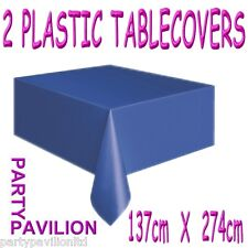 2 Royal Blue Disposable Plastic Party Table Cloths Covers - Sapphire Anniversary