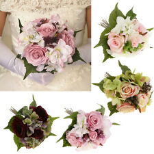 Silk Rose Hydrangea Artificial Flower Bride Bouquet Wedding Party Decor 4 Colors