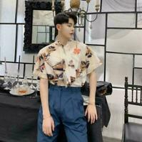Men's New  Summer Short Sleeve Tie Floral Print Dress Shirt Party Formal Tops