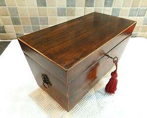 ANTIQUE GEORGIAN ROSEWOOD SARCOPHAGUS TEA CADDY BOX - ORIGINAL INTERIOR + key