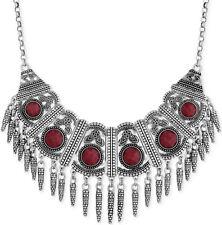 $79 Lucky Brand Bib Bold Red Stone Intricate Design w/ Dangles Necklace NEW
