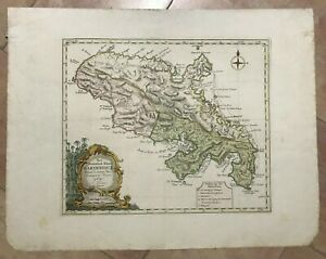 MARTINIQUE ISLAND 1760 ISAAK TIRION LARGE ANTIQUE ENGRAVED MAP 18TH CENTURY