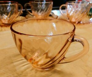 1 Arcoroc Rosaline Watermellon Pink Swirl Tea Cup No Saucer Very Good Condition