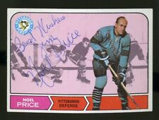 1968-69 Topps #110 NOEL PRICE Autograph/Auto Card Pittsburgh Penguins