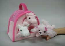 Plush PINK DOG Animal House with 3 Finger Puppets