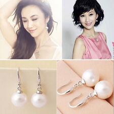 Stylish Women Ladies Silver Plated Natural Pearls Ear Stud Hook Dangle Earrings