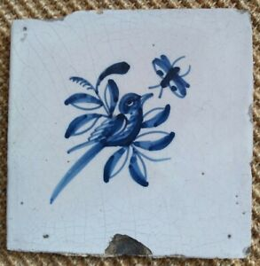ANTIQUE 17C DUTCH DELFT TILE BLUE AND WHITE DEPICTING A BIRD AND BUTTERFLY