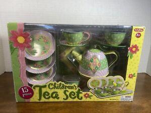Schylling 15 Piece Children's Tea Set Tin NIB Green Floral Flower Teapot Teacups