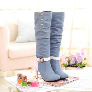 Women's Denim Knee High Shoes Stiletto High Heels Ladies Ankle Buckle Boots New