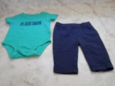 Baby Boy 3 Months Carters Short Sleeve # LADIESMAN Romper Stretch Pants Outfit