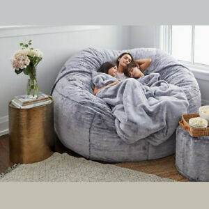 183*90Cm Gaint Fluffy Fur Bean Bag Bed COVER Lazy Sofa Case Living Room Decor